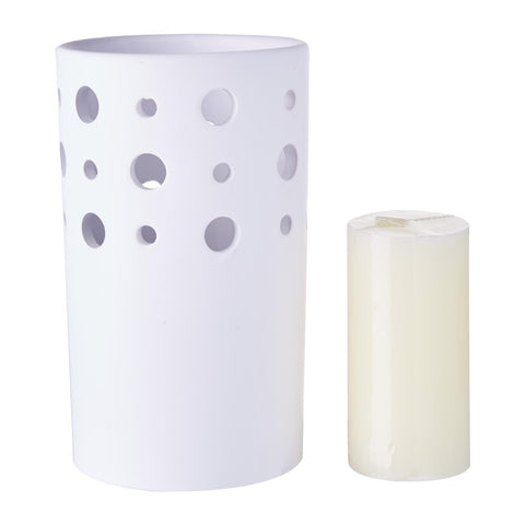 WaxWorks Pillar Candle Holder - White Candles