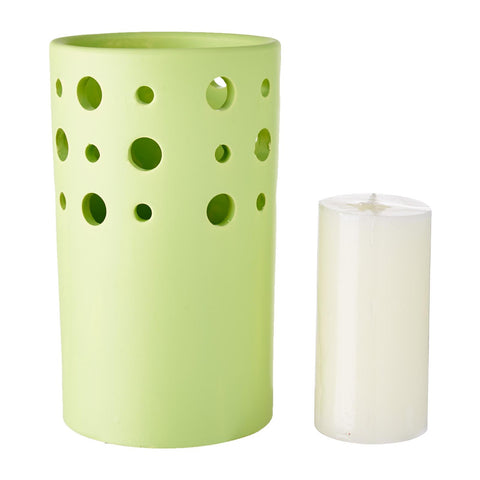 WaxWorks Pillar Candle Holder - Green Candles