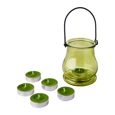 WaxWorks Tea Light Jar - Green Candles