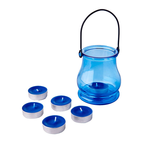 WaxWorks Tea Light Jar - Blue Candles
