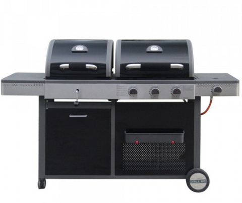 LDK - Combi - 3 burner BBQ Gas & Charcoal Crank + Side Burner