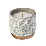 Waxworks, Citronella Candle Floral Cement With Gold Base Pot