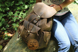 Traditional Leather Hiking Backpack