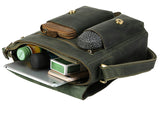 Classic Army Green Leather Messenger Bag - Gritty Rustic Leather Co.