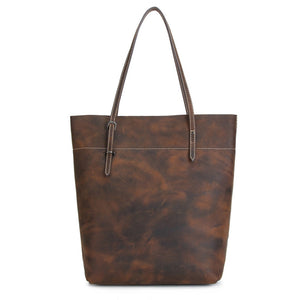 Minimal Russet Espresso Leather Tote Bag - Gritty Rustic Leather Co.