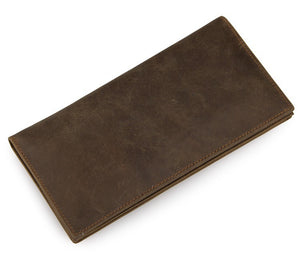 Minimal Dark Brown Leather Long Wallet - Gritty Rustic Leather Co.