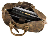 Men's Full Grain Crazy Horse Leather Walnut Rugged Travel Weekender - Gritty Rustic Leather Co.