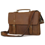 Minimalist Chestnut Leather Mini Briefcase Satchel - Gritty Rustic Leather Co.