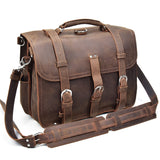 Rugged Chocolate Leather Exploration Briefcase - Gritty Rustic Leather Co.