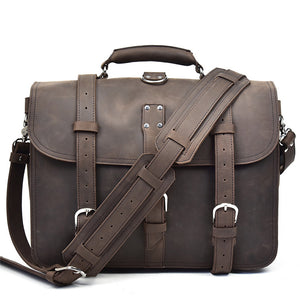 Rugged Cocoa Leather Exploration Briefcase - Gritty Rustic Leather Co.