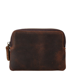 Classic Espresso Leather Zippered Coin Purse - Gritty Rustic Leather Co.