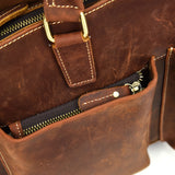 Rugged Russet Leather Tall Briefcase - Gritty Rustic Leather Co.