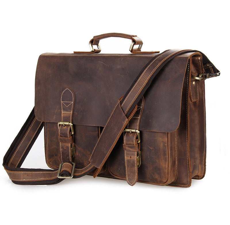 men's classic crazy horse leather cappuccino rugged briefcase