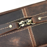 Minimal Brown Leather Carry-All Briefcase - Gritty Rustic Leather Co.