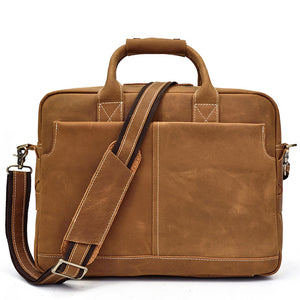 Minimal Cognac Leather Carry-All Briefcase - Gritty Rustic Leather Co.