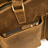 Rugged Espresso Leather Tall Briefcase - Gritty Rustic Leather Co.