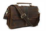 Vintage Aesthetic Walnut Leather Satchel - Gritty Rustic Leather Co.