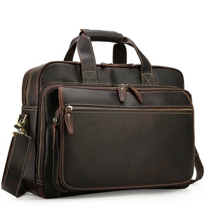 Business Espresso Leather Carry-All Travel Briefcase