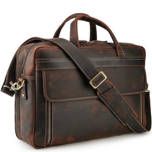 Business Leather Carry-All Travel Briefcase