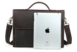 Minimal Espresso Leather Briefcase - Gritty Rustic Leather Co.