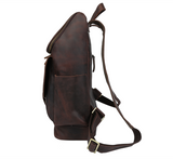 Men's Crazy Horse Leather Espresso Dark Durable Work Backpack - Gritty Rustic Leather Co.