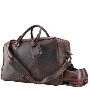 Espresso Crazy Horse Leather Travel Duffel Bag