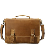 Minimal Tobacco Crazy Horse Leather Briefcase - Gritty Rustic Leather Co.