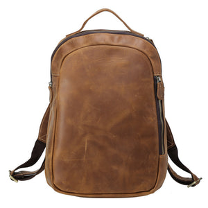Minimal Oliver Cognac Leather Backpack - Gritty Rustic Leather Co.