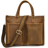 Rugged Tobacco Leather Tall Briefcase - Gritty Rustic Leather Co.