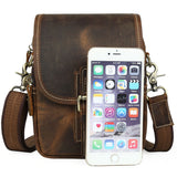 Rugged Chestnut Compact Leather Sling Bag