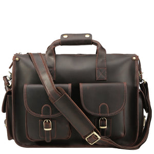 Rugged Espresso Leather Carry-All Briefcase