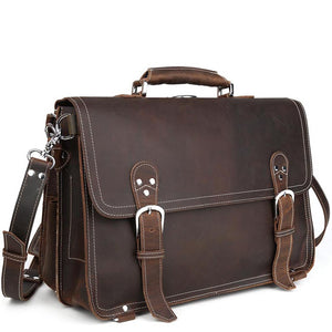 Rugged Leather Exploration Briefcase Versatile Backpack