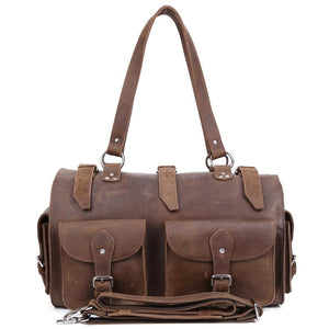 Rugged Chocolate Leather Weekender - Gritty Rustic Leather Co.