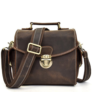 Rugged Mahogany Leather SLR Camera Messenger Bag - Gritty Rustic Leather Co.