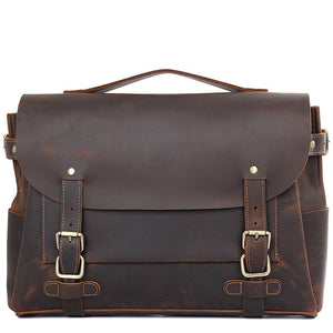 Classic Espresso Leather Messenger Bag