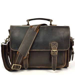 Rugged Espresso Leather SLR Camera Messenger Bag - Gritty Rustic Leather Co.