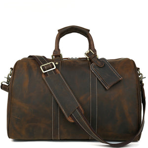 Minimal Mahogany Leather Weekender - Gritty Rustic Leather Co.