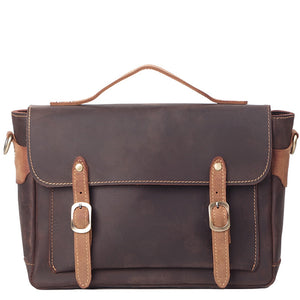 Vintage Cocoa Tan Leather Messenger Bag - Gritty Rustic Leather Co.
