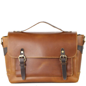 Vintage Cognac Cocoa Leather Messenger Bag - Gritty Rustic Leather Co.