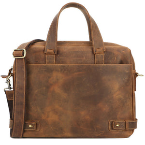 Rugged Tobacco Leather Carry-all Briefcase - Gritty Rustic Leather Co.