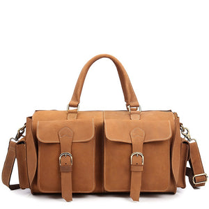 Rugged Gold Leather Weekender - Gritty Rustic Leather Co.