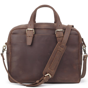 Rugged Brown Leather Carry-All Briefcase - Gritty Rustic Leather Co.
