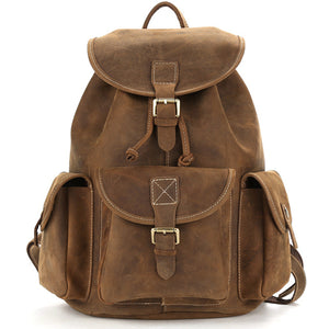 Classic Brown American Leather Backpack - Gritty Rustic Leather Co.