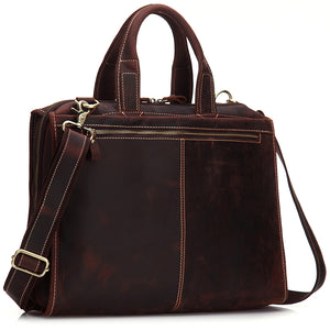 Women's Full Grain Crazy Horse Leather Business Casual Laptop Tote Bag - Gritty Rustic Leather Co.
