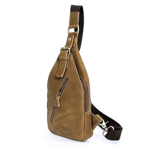 Rugged Cross Body Khaki Leather Chest Bag - Gritty Rustic Leather Co.