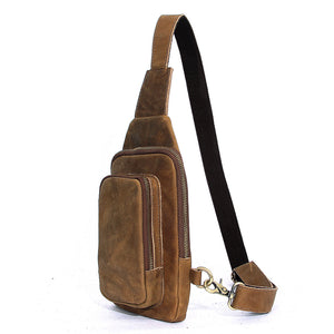 Minimal Tobacco Leather Sling Bag - Gritty Rustic Leather Co.