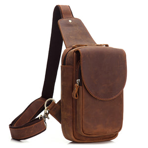 Minimal Medium Brown Leather Sling Bag - Gritty Rustic Leather Co.