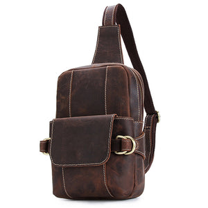 Rugged Workmen Espresso Leather Sling Bag - Gritty Rustic Leather Co.