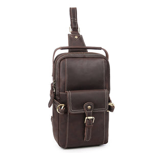 Workman's Espresso Leather Chest Bag - Gritty Rustic Leather Co.