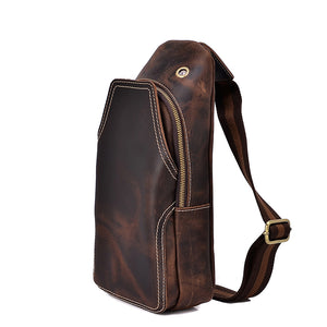 Minimal Espresso Leather Sling Bag - Gritty Rustic Leather Co.